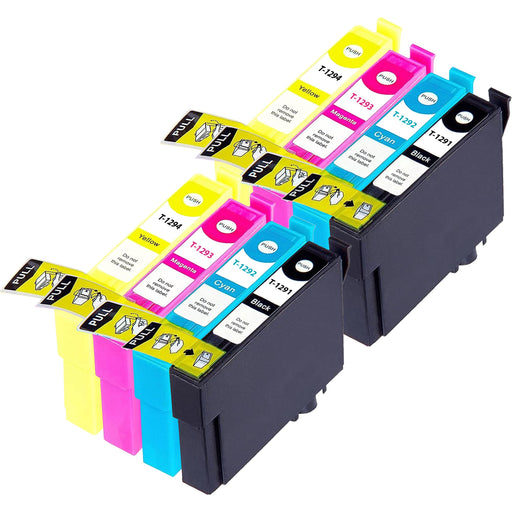 Compatible Epson 2 Sets of 4 SX438W Ink Cartridges (T1295)