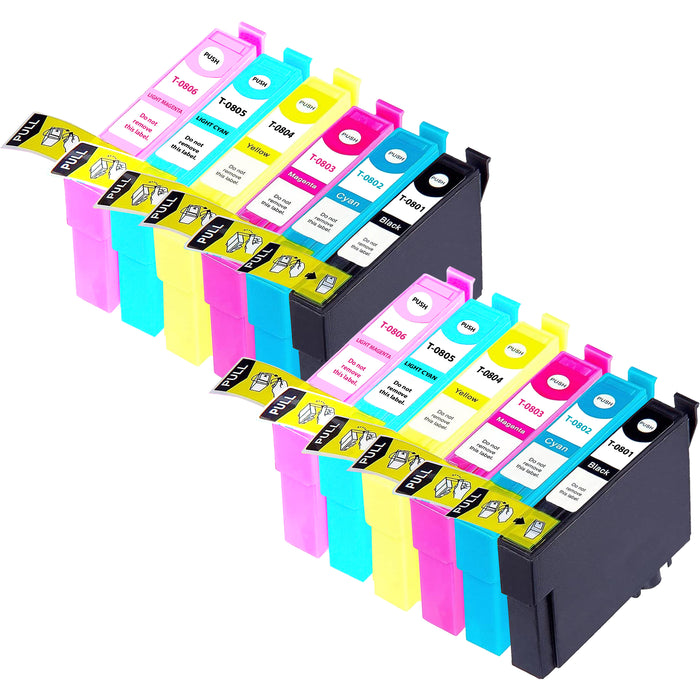 Compatible Epson T0807 (T0801 / T0802 / T0803 / T0804 / T0805 / T0806) Ink Cartridges Pack of 12 - 2 Sets