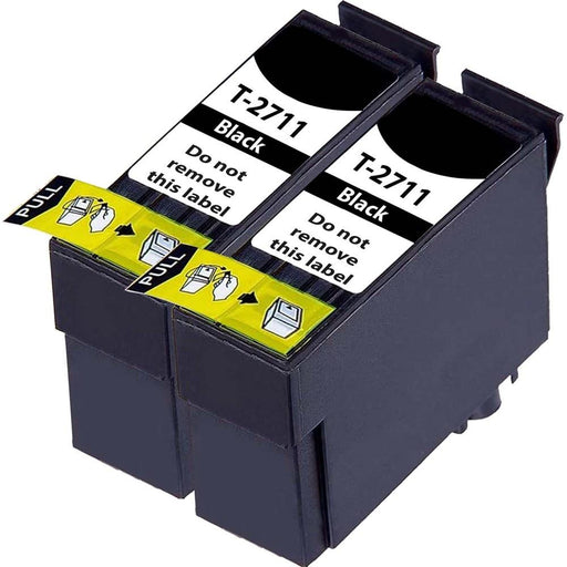 Compatible Epson 2 Black WF-7620DTWF Ink Cartridges (T2711 XL)