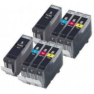 Compatible Canon 2 Sets of 4 iX5000 Ink Cartridges (PGi-5/CLi-8)
