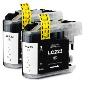 Compatible Brother 2 Black MFC-J5320DW ink cartridges (LC223 XL)