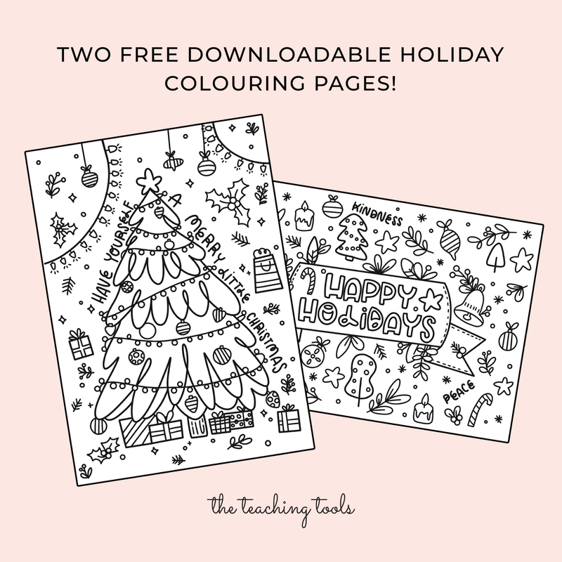 Holiday Colouring Pages - FREE - The Teaching Tools Teacher Stamps