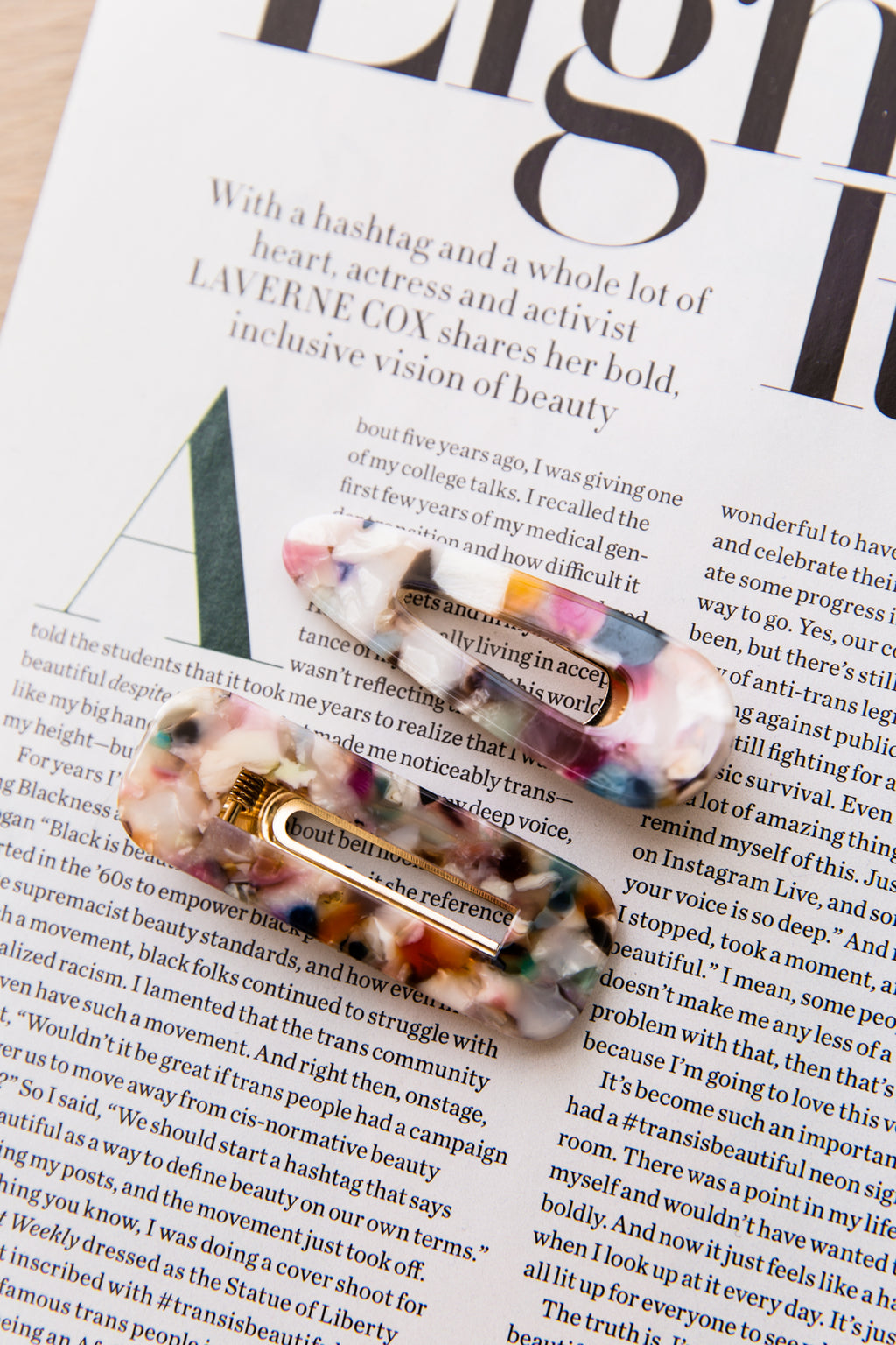 Hair Clips Set of 2 - Marble