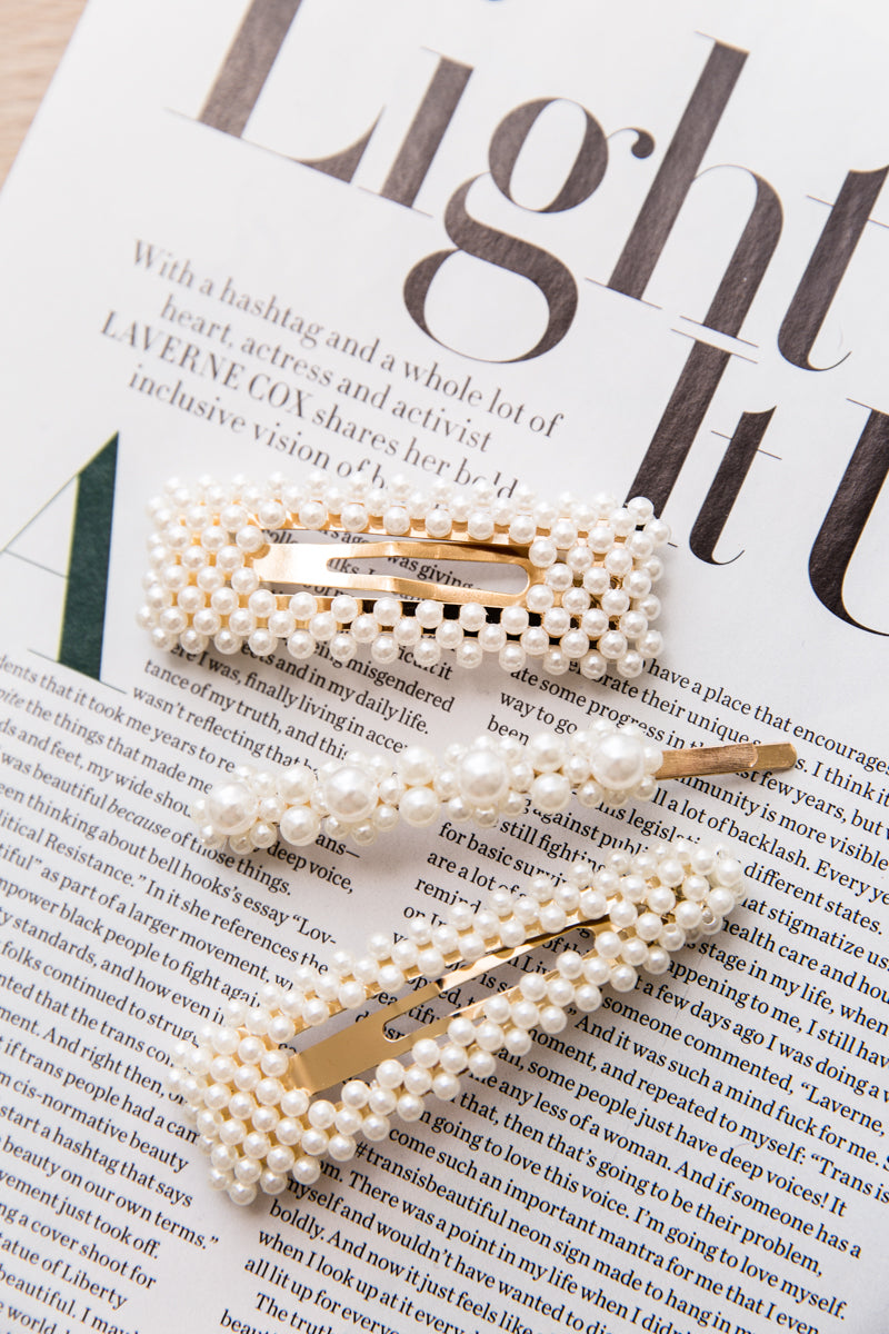 Hair Clips Set of 3 - Pearl