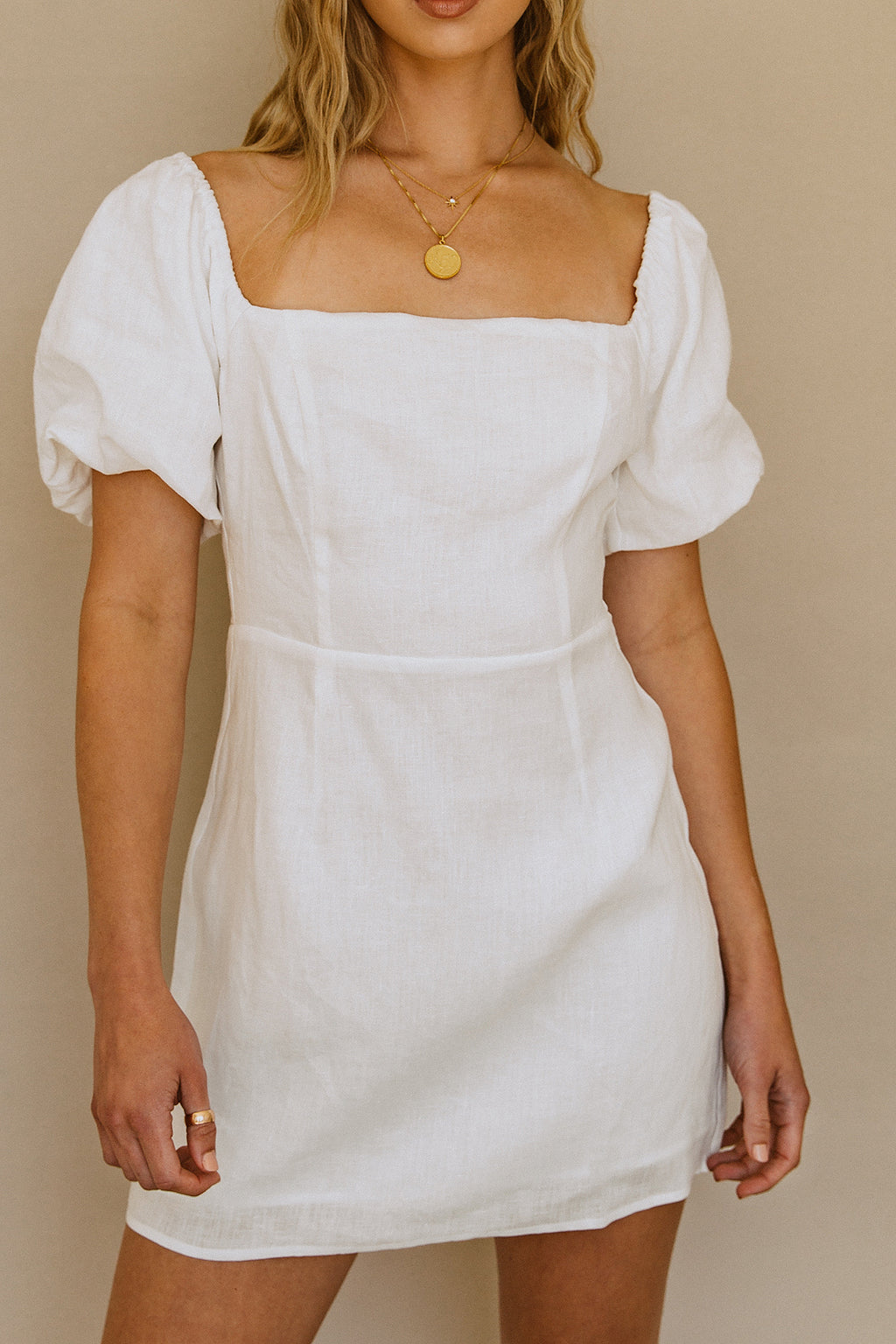 Catalina Island Linen Dress - White