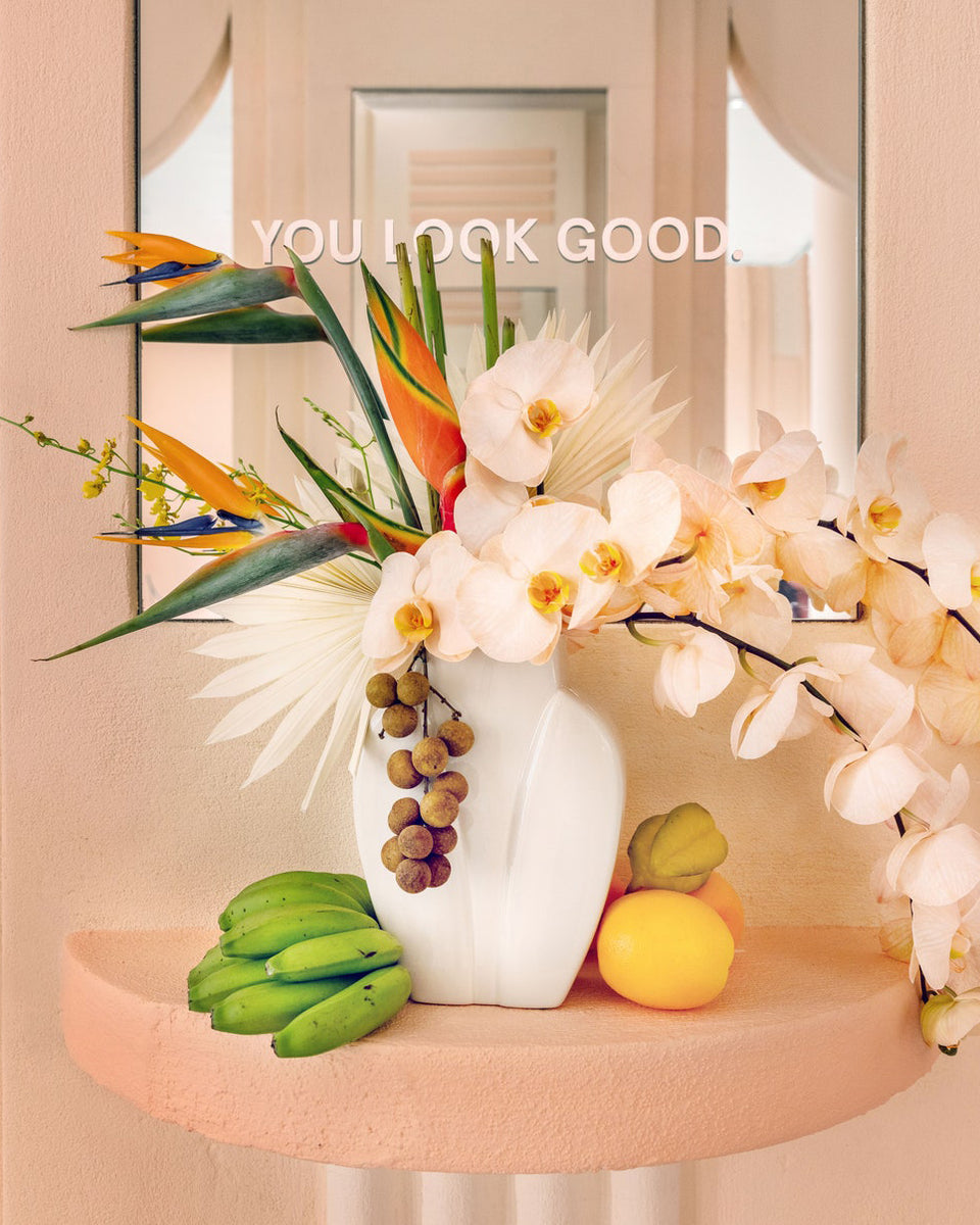 Glossier Miami Store Flowers by Calma. Unique, modern and fun flower design studio located in Miami. Available for pickup or delivery.