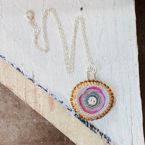 Embroidered Necklace - Solo Pink and Amber