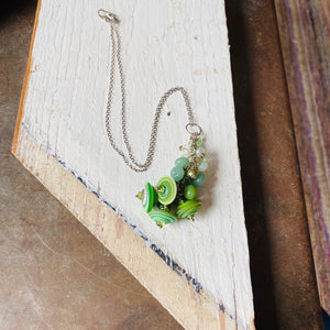 Green Disc Gemstone Cluster Necklace