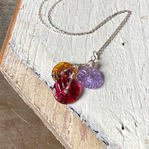 Dangle Necklace - Honey, Lilac, and Rose
