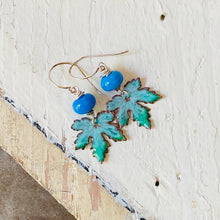 Load image into Gallery viewer, Leaf Earrings - Turquoise and Blue