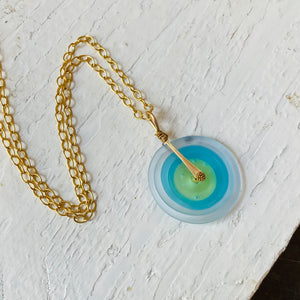 Matte Blue and Gold Chain Necklace