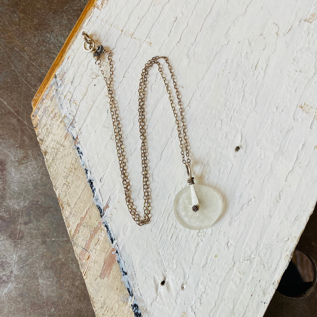 Matte Recycled Glass Necklace - Clear