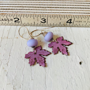 Leaf Earrings - Pink and Lilac