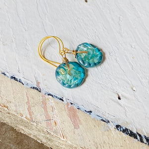 Mini Art Glass Dangles - Seafoam