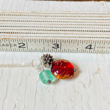 Load image into Gallery viewer, Dangle Necklace- Red and Blue Trio