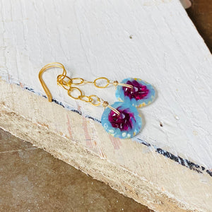 Fuchsia and Gold Chain Earrings