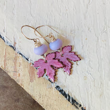 Load image into Gallery viewer, Leaf Earrings - Pink and Lilac