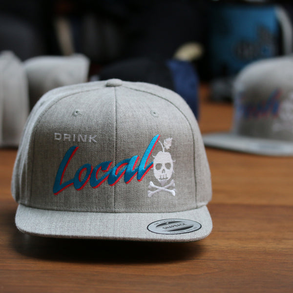 DRINK LOCAL Snapback (Heather Gray)