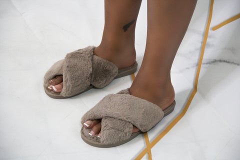 Tan Let's Chill Slippers