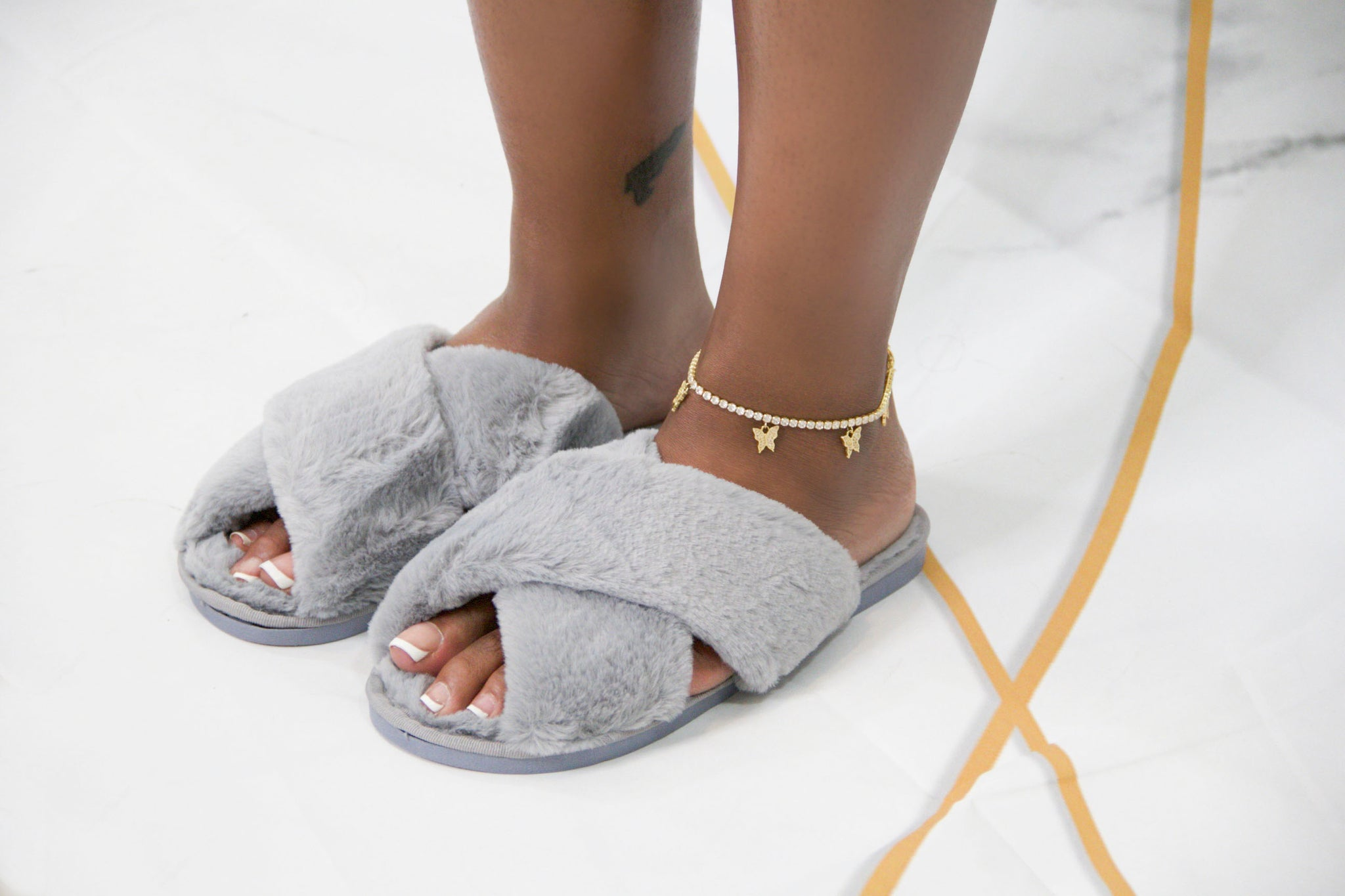 Gray Let's Chill Slippers