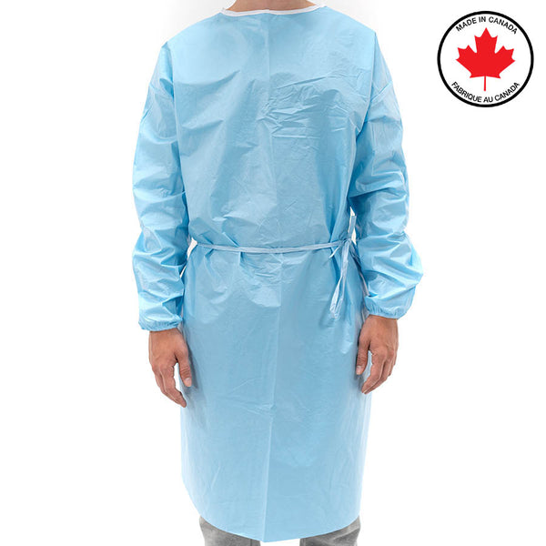Standard 50-Wash Isolation Gown - Made in Canada, Level 3 AAMI Certified