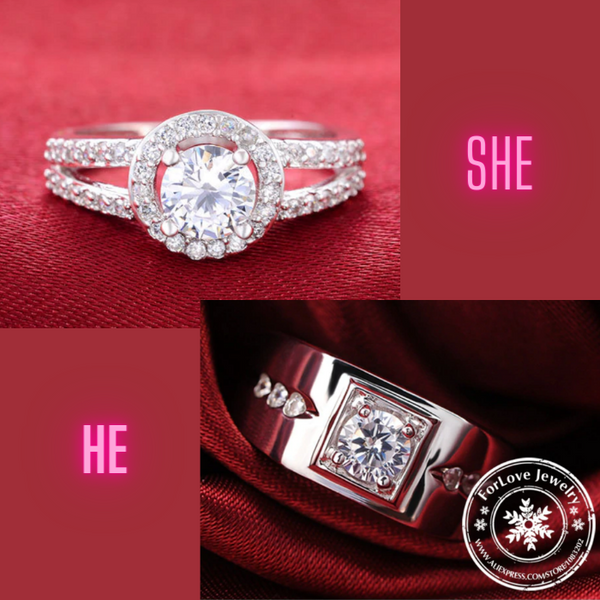 Couple Ring Set for Women and Men. 925 Sterling Silver with Zircon settings. R1476 (Price quoted per piece)