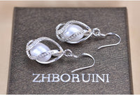 ZHBORUINI Natural Freshwater Pearl Jewelry Set Necklace and Earrings with Zircon set on 925 Sterling Silver ZJS 004
