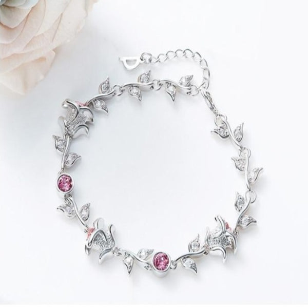 Adjustable Rose Bracelet Embellished with crystals from Swarovski CDB 004