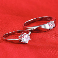 925 Sterling Silver Couple rings with Zircon settings  R142S (Price quoted per piece)