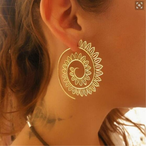 Mesmerising Swirl Hoop Earring For Women  available in Gold TER 1007