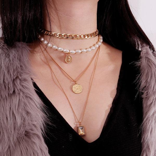 Mesmerising Gold Color Multilayer Chains Pearl Necklace with Crystal Pendants TNL 1011