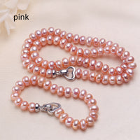 ZHBORUINI Natural Freshwater Pearl Necklace and Bracelet with Pearl Love Button set on 925 Sterling Silver ZJS 005