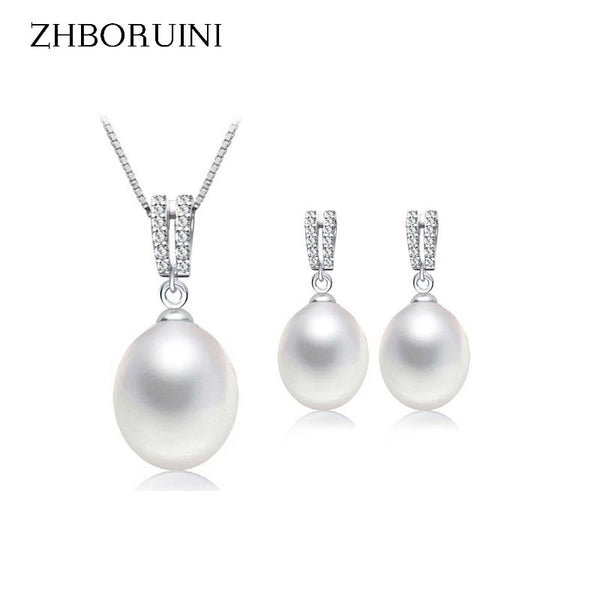 ZHBORUINI Natural Freshwater Pearl Jewelry Set  Necklace and Drop Earrings with Zircon setting on 925 Sterling Silver ZJS 003