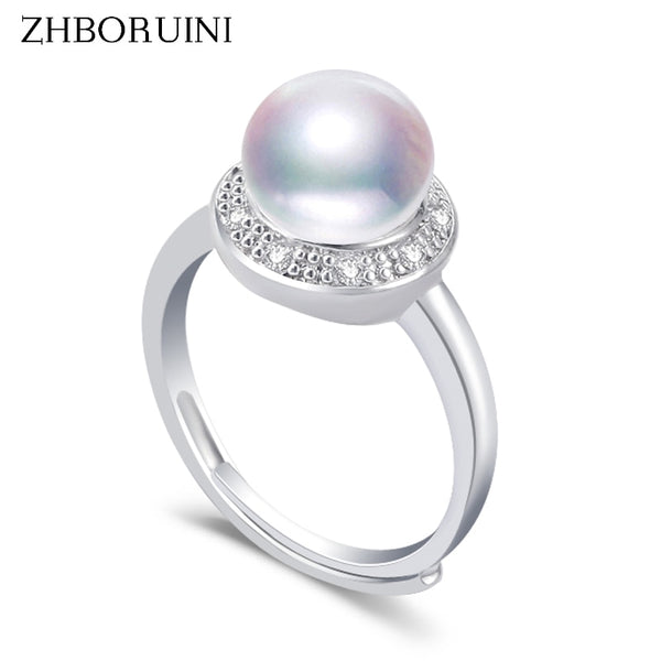 ZHBORUINI Natural Freshwater Pearl Ring with Zircon settings on 925 Sterling Silver 013