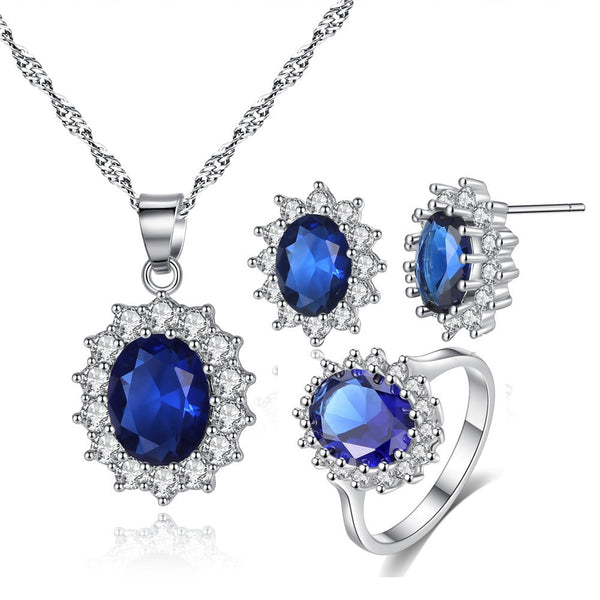 Luxury blue sunflower 925 sterling silver Jewelry set Necklace, Earring and Ring with Zircon setting J5519