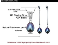ZHBORUINI Natural Freshwater Pearl Necklace and Earrings set on 925 Sterling Silver ZJS 006