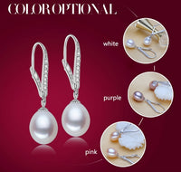 ZHBORUINI Natural Freshwater Pearl Drop Earrings set on 925 Sterling Silver ZE 006