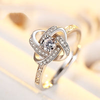 New trendy Clover 925 sterling silver fashion ring for women with Zircon settings R5422