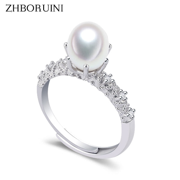 ZHBORUINI Natural FreshwaterPearl Ring set on 925 Sterling Silver KH 261