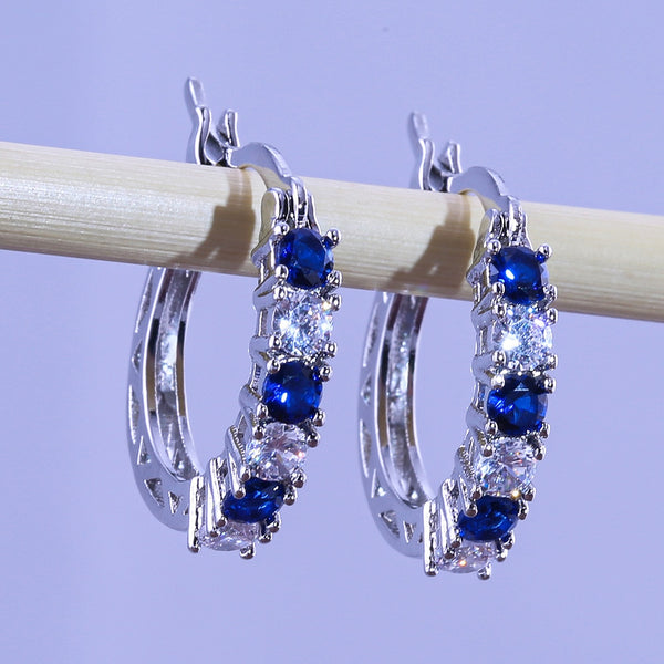 New trendy blue silver color earrings round 925 sterling silver with Zircon settings E5495