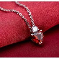 925 Sterling Silver with Red Austrian Crystal Heart Shape Stud Earrings and necklace set with Zircon J580