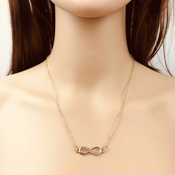 Simple and Classic Infinity Crystal Pendant Necklaces available in Gold and Silver TNL 1007