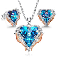 Heart Necklace Earrings Jewelry Set Embellished With Crystals from Swarovski CDJ 001