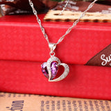 Designed and crafted to dazzle, this unique 925 Sterling Silver Necklace with a heart shaped purple zircon Pendant is charming and magnetic. X670