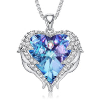 Women Necklace Embellished with Crystals from Swarovski - Necklace Angel Wings Heart Pendant CDN001