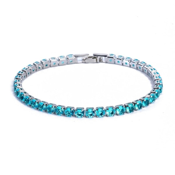 New arrival 4mm luxury round 925 sterling silver bracelet set with zircon S5787