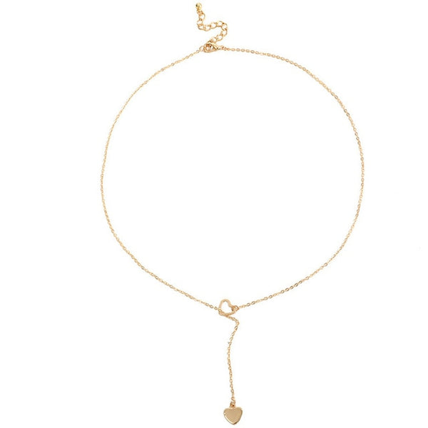 Elegant, Simple and Trendy jewelry heart chain link necklace available in Gold and Silver TNL 1010