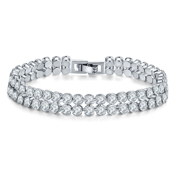 New luxury Double row round 925 sterling silver bracelet with Zircon setting S5775