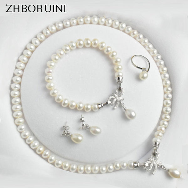 ZHBORUINI Natural Freshwater Pearl Jewelry Sets Necklace, Earring, Ring and Bracelet set on 925 Sterling Silver ZJS 001