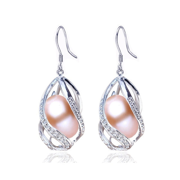 ZHBORUINI Natural Freshwater Pearl Earrings Water Drop design on 925 Sterling Silver ZE 005